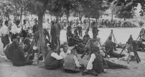1914: Members of the Serbian reserve forces, encamped near Belgrade. Photograph:  Central Press/Getty Images