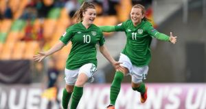 Clare Shine, left,  celebrates after scoring the Republic of Ireland's first goal with team-mate Katie McCabe at the Uefa Women's U19 Championship Finals in Norway. Photograph: Stephen McCarthy/Sportsfile