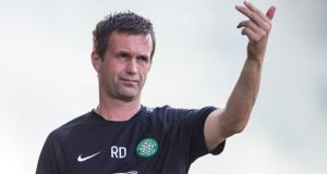 Ronny Deila: manager got a win in his first competitive game with Celtic. Photograph: Christian Hofer/Getty Images