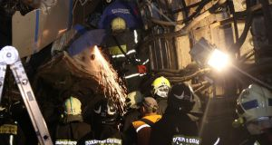 Members of the emergency services work at the site of an accident on the subway in Moscow on July 15th, 2014. Photograph: Reuters