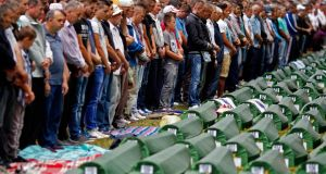 Bosnian Muslims pray during a mass funeral last week for 175 newly identified victims from the 1995 Srebrenica massacre, at Potocari Memorial Center, near Srebrenica.  Photograph: Dado Ruvic/Reuters
