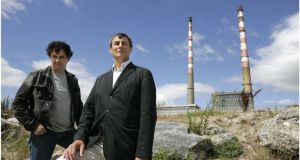 Bertrand Chiron of Bideau with artist Patrick O'Reilly, outside Poolbeg Power Station in 2006. Photograph: Dara Mac Dónaill/The Irish Times
