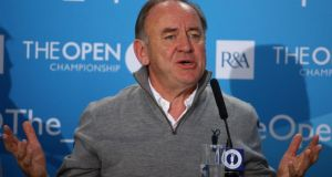 Peter Dawson, chief executive of the R&A, talks to  media  prior to the start of The 143rd Open Championship at Royal Liverpool in Hoylake, England. Photograph:  Matthew Lewis/Getty Images