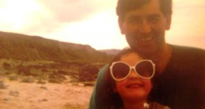 Alice McLoughlin and her father on Lecanvey Beach, Co Mayo