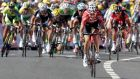 Lotto-Belisol team rider Tony Gallopin of France sprints to win the 187.5-km 11th stage of the Tour de France  between Besancon and Oyonnax. Photograph: Jacky Naegelen / Reuters