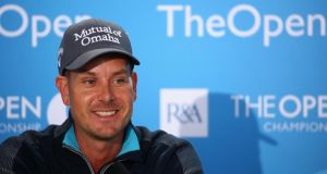 Henrik Stenson of Sweden talks to the  media after  a practice round prior to the start of The 143rd Open Championship at Royal Liverpool  in Hoylake, England. Photogrpah:   Matthew Lewis/Getty Images