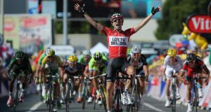 Tony Gallopin of France and Lotto Belisol celebrates as his solo breakaway secures victory in the 11th stage of the Tour de France to Oyonnax yesterday. Photograph: Doug Pensinger/Getty Images.