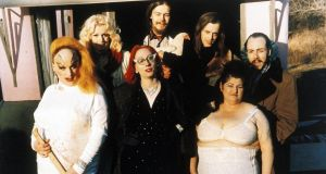 The Dreamlanders, including Divine (front left), Mink Stole (front centre) and John Waters (back 3rd from left) on the set of Pink Flamingoes