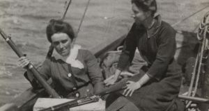 Molly Childers (left) with Mary Spring Rice and guns on board the Asgard. Photograph: Trinity College Dublin