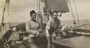 Conor O'Brien with his sister, Margaret, on board the Kelpie. Photograph: Trinity College Dublin