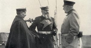 "Kaiser Wilhelm II, army chief of staff Helmuth Von Moltke, and Admiral Alfred von Tirpitz. An article in ""Le Figaro"" in the run-up to the first World War highlighted Germany's advantage over France in military resources and expenditure. Photograph: Universal History Archive/Getty Images"