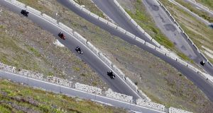 Hairpin turns on the Stelvio pass in Italy