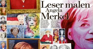 """Bild's"" tribute to German chancellor Angela Merkel on her 60th birthday. The tabloid newspaper printed 60 portraits of Ms Merkel submitted by readers."
