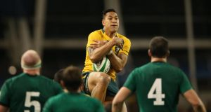 Australia's Israel Folau in action  during the clash against Ireland at the Aviva last November. Photo: Billy Stickland/Inpho