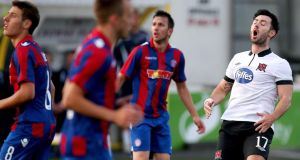 Dundalk's Richie Towell reacts to a missed chance against Hajduk Split at Oriel Park. Photo: Ryan Byrne/Inpho