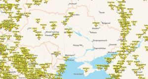 Flight paths over Ukraine region today.