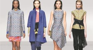 Left: Blue brocade peacoat, €1,470, pink and red silk georgette skirt, €785. Middle left: Blue kimono coat, €1,470, pink structured peplum top, €755, navy cropped trousers, €545, black scarf with gold fringing, €265. Middle right: Blue brocade asymmetric drape dress, €1,160. Right: Yellow brocade top, €770, black cropped trousers, €460; all from Osman at Brown Thomas, Dublin.