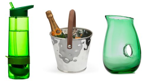 Frech bottle with fruit squeezer, €10, Designist, Dublin Leather handle wine cooler, €99.95, Culinary Concepts at Kilkenny Shop Green jug with handle, €26, Article Dublin
