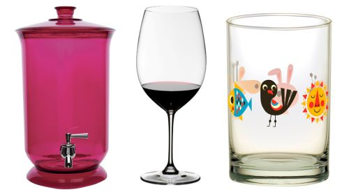 Drinks Dispenser, €20, M&S XL Bordeaux glass, €30, Riedel Vinium at The Corlscrew Wine Merchant Animals glass, €5.01, Ingela P Arrenhius at Hunky Dory Home