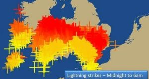 Lightning strikes during the first six hours of today across Ireland, Wales and England. The image from @BBCWeather shows the most recent strikes in red.