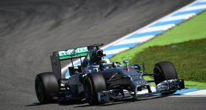 Lewis Hamilton in action during practice ahead of the German Grand Prix at Hockenheim. Photo:  Christopher Lee/Getty Images