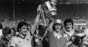 FA Cup final, 1979: Arsenal players Pat Rice, Liam Brady, Graham Rix and Frank Stapleton   after beating Manchester United 3-2. Photograph: Mike Stephens/Central Press/Getty Images)