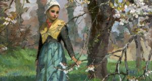 Detail from `Girl in an Orchard (Under the Apple Blossom)` by Maria Dorothy Webb