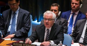 Russia's ambassador to the United Nations Vitaly Churkin (centre) warned the UN Security Council  against  attempts to pressure an investigation into the downing of Malaysia Airlines flight MH17. Photograph: Reuters