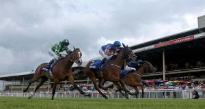 Bracelet, ridden by Colm O'Donoghue, comes home to win the Darley Irish Oaks at the Curragh. Photograph: Donall Farmer/Inpho