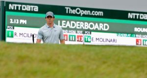 Rory McIlroy at the 12th on the third day at the British Open. Photograph: EPA