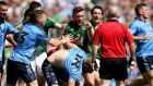 Meath's Michael Burke protests to the referee after a scuffle in the Leinster final defeat to Dublin at Croke Park. Photograph: James Crombie / Inpho