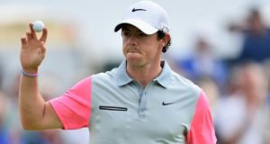 Rory McIlroy of Northern Ireland reacts to his birdie putt on the ninth green during the final round of The 143rd Open Championship at Royal Liverpool   in Hoylake.  Photograph:  Stuart Franklin/Getty Images