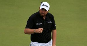 Shane Lowry celebrates his birdie on the 18th during day four of the British Open Championship at Hoylake. Photograph: PA.