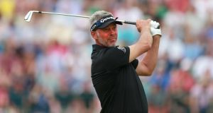 "Northern Ireland's Darren Clarke in action at  Royal Liverpool Golf Club, Hoylake. ""There's Darren Clarke,"" said Peter Alliss, ""well, what's left of Darren Clarke""."