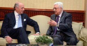 French foreign minister Laurent Fabius meeting Palestinian president Mahmoud Abbas in Cairo on Friday to seek end to violence in Gaza. Photograph: EPA/Ghanaim/Palestinian Authority