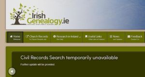 The message displayed on the irishgenealogy.ie site after the civil registration details were removed last Friday.