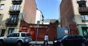 Vacant property site on Fishamble Street, Dublin 2, for which expressions of interest by families are being sought. Photograph: Cyril Byrne