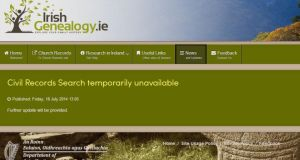 The Irish Genealogy website after the database was removed