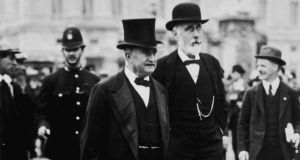 Leader of the Irish Parliamentary Party John Redmond (1856 - 1918, left) with Irish nationalist politician John Dillon (1851 - 1927), circa 1910. Photograph: Hulton Archive/Getty Images
