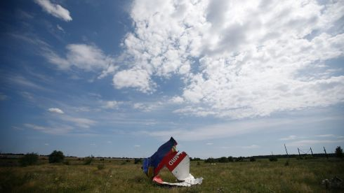 Wreckage from Malaysia Airlines Flight MH17. The aircraft was travelling from Amsterdam to Kuala Lumpur when it crashed, killing all 298 on board including 80 children. The flight was allegedly shot down by a missile and investigations continue over the perpetrators of the attack. Photograph: REUTERS/Maxim Zmeyev