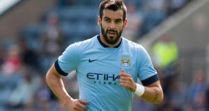 "Alvaro Negredo expects to be sidelined for ""a few months"" due to a fractured metatarsal, the Manchester City striker has confirmed on his Instagram account.  Photograph: Jeff Holmes/PA Wire."