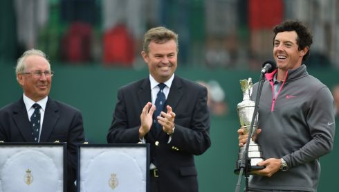 The Open winner makes a speech on the 18th green after his two-stroke victory at The 143rd Open Championship at Royal Liverpool. Photograph: Stuart Franklin/Getty Images