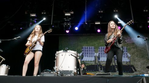 Haim playing at Longitude 2014  Photograph: Kieran Frost