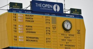 The main scoreboard showing the final result of the British Open. Photograph: Cathal McNaughton/Reuters