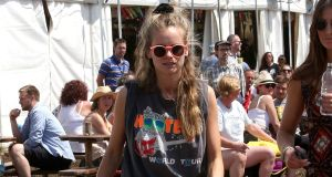 Cressida Bonas sporting a scrunchie at Glastonbury this year. Photograph: Getty Images