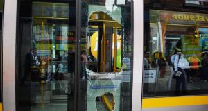 The Luas tram at Abbey Street which was in collision with a bus near Busaras today. Photograph: Cyril Byrne/The Irish Times