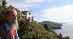 Peter Cornish (above) and his wife Harriet  transformed a wind-blasted cluster of ruins into a wooded retreat village, creating the charity Dzogchen Beara.