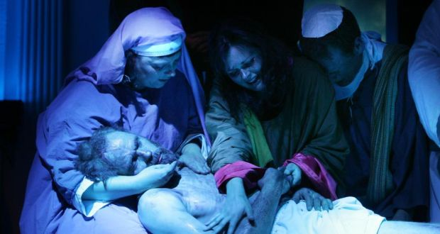 Gradually and for a variety of reasons, the memory of Mary Magdalene changed in the Western church – Actors Pascal Lacey playing the part of Jesus Christ, Margaret Walshas Mary, Eva Mulhare as Mary Magdalene ,and William Byrne, as John the Apostle during the Ballylinan Passion Play on stage at St. Annes Community Hall Ballylinan in 2010. Photograph: Alan Betson