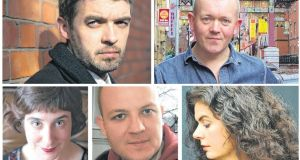 The five poets shortlisted for The Irish Times Poetry Now award are, clockwise from top left,  Nick Laird, Conor O'Callaghan, Tara Bergin, Billy Ramsell and Sinéad Morrissey