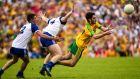 Donegal's Ryan McHugh evades the challenge of Monaghan's Ryan Wylie and Colin Walshe duringt the Ulster SFC final. Photograph: Russell Pritchard/Pressye/Inpho